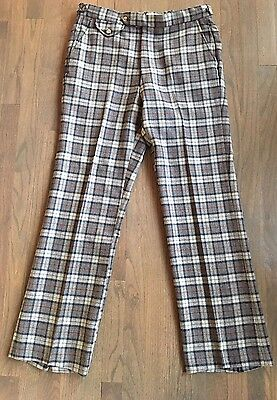 Vtg IZOD Men's Plaid+Checkered Adjustable Waist Golf Geek Pants 34X31 +1 Hem
