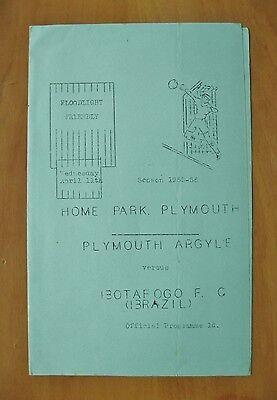 PLYMOUTH ARGYLE v BOTAFOGO Friendly 1955/1956 *Inc GARRINCHA - Exc Condition*