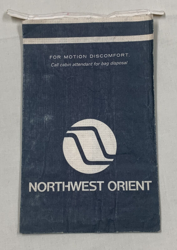 Northwest Orient Airlines Barf Bag Motion Air Sickness Vintage