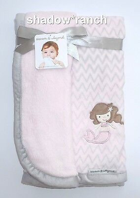 Zig Zag Plush - NWT Blankets & Beyond Mermaid Pink Gray Chevron Zig Zag Plush Blanket SOFT Lovey