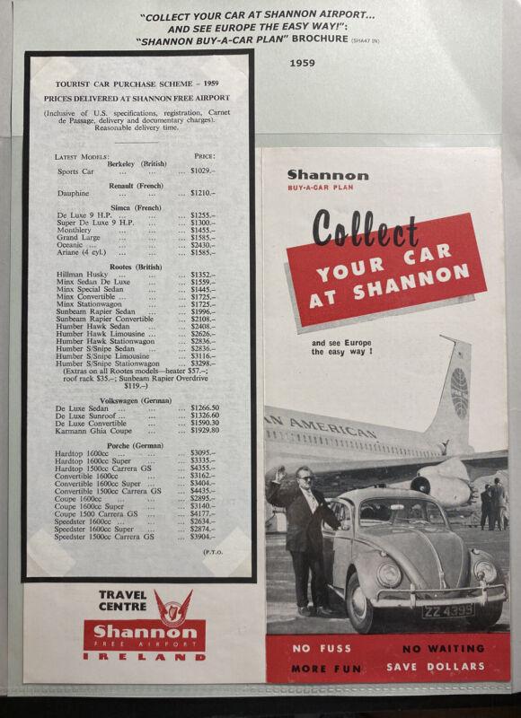 Ireland Shannon Airport 1959 Leaflet Brochure Car Rental Scheme Plane