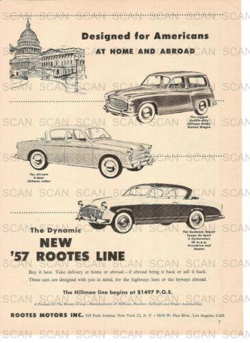 1957 Hillman-Sunbeam Automobiles Vintage Magazine Ad