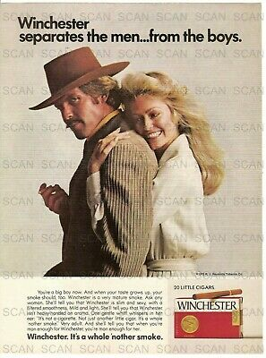 1973 Winchester Little Cigars Vintage Magazine Ad w/ Farrah Fawcet