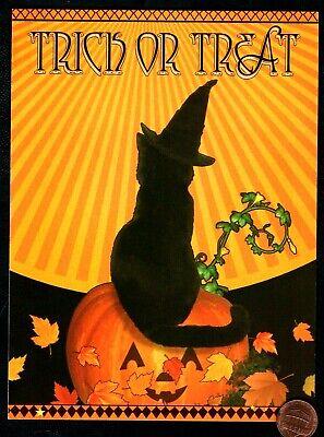 Halloween Greeting Cards (Halloween Black Cat Kitten Witch Hat Pumpkin Leaves Halloween Greeting Card)