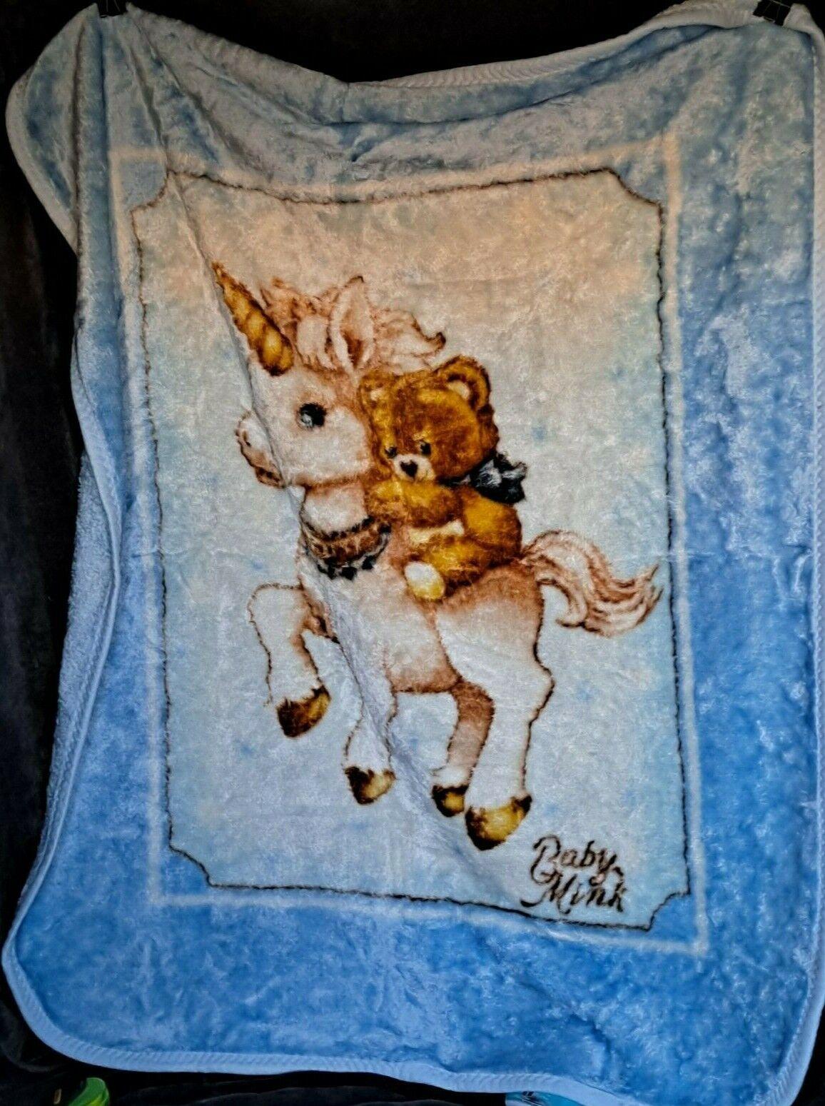Vintage Blue Baby Blanket Teddy Bear Riding On A Unicorn Baby Mink 40 X 52  - $25.95