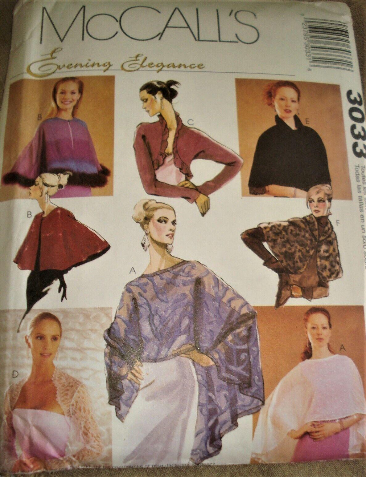 McCall s Sewing Pattern 3033 CAPELETS, SHRUGS BOLEROS Evening Elegance UC - $5.50