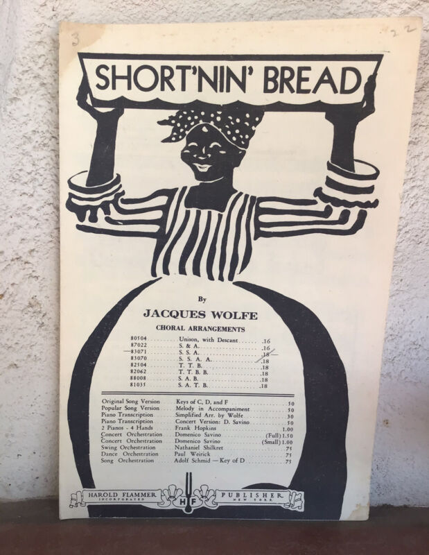 "Vintage 1933 African American Sheet Music ""Short'nin' Bread"" Good Graphics SM"