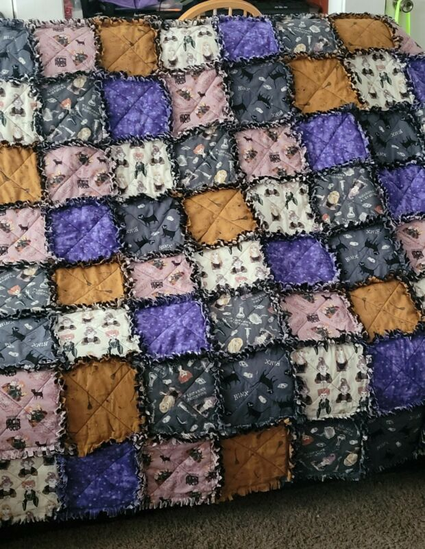 Halloween Sanderson Sisters Witches Hocus Pocus Rag Quilt Throw  New Handmade