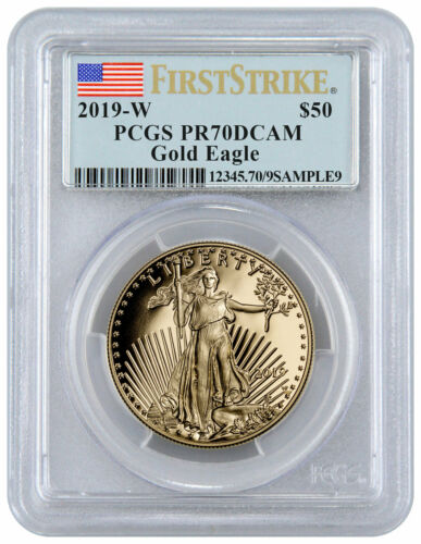 2019 W 1 oz Gold American Eagle Proof $50 PCGS PR70 FS Flag Label SKU56189