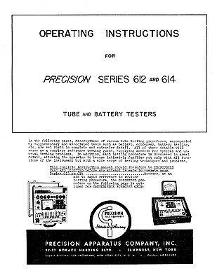 Precision Tube Tester 612 And 614 Operating Instructions
