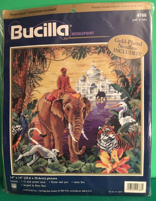 "Rare Bucilla Needlepoint Kit ""Jewel of India"" 14"" X 14"" Picture 12 Mesh, Rossi"
