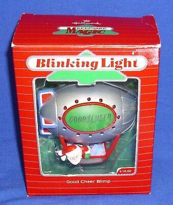 Hallmark Magic Ornament Good Cheer Blimp 1987 Santa Claus Blinking Lights Used Good Cheer Ornament