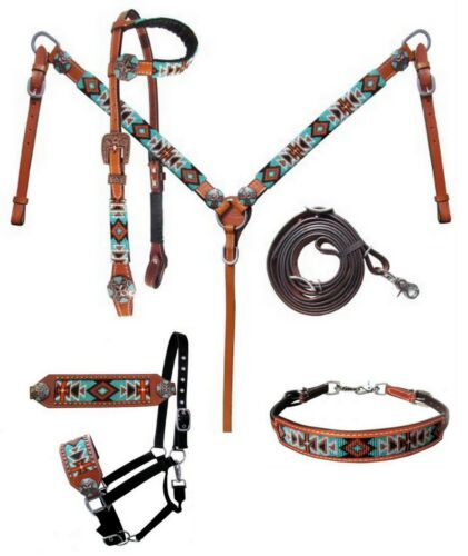 Western Horse 5pc Turquoise Beaded Leather Tack Set Headstall w/Breast Collar