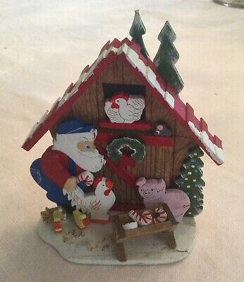 RARE EMGEE HAWAII Santa's Farm Wood Christmas Ornament Figure Damaged