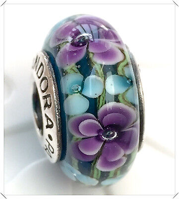 Authentic Pandora  925 silver murano bead charm  glass purple flower