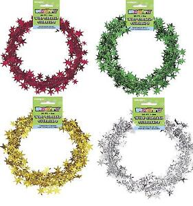 20ft-Christmas-Star-Wire-Foil-Garland-red-green-silver-gold-Decorations