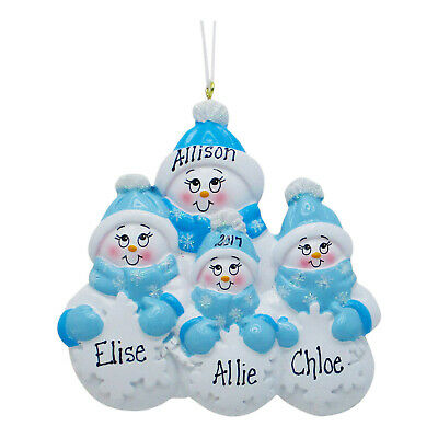 PERSONALIZED Single Parent Mom With 3 Children Christmas Gift Tree Ornament  ()