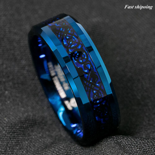 8mm Blue Tungsten Carbide Ring Carbon Fibre Black Celtic Dragon Men