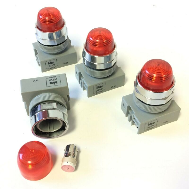 Lot of 4 Idec APW-199 LED Red 22mm Pilot Indicator Illuminated Light 24VAC/DC