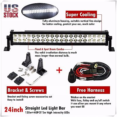 24 inch 120w Led Light Bar Spot Flood Combo Work Boat UTE Truck SUV ATV 4WD 20""