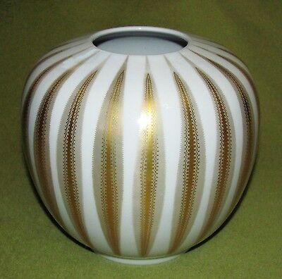 Hutschenreuther Kugel-Vase Golddekor 50/60er Jahre