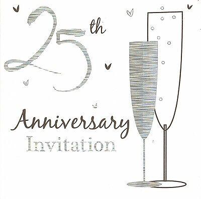 72 x silver wedding anniversary invitations cards 25th party invites (25th Wedding Anniversary Invitations)