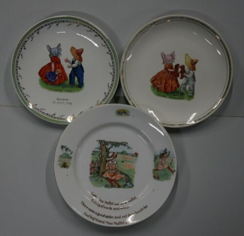 Vintage Set of 3 Children Plates (I love You,Getting Agquainted,Nursery Rhymes)
