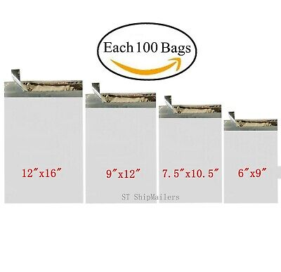 400 Poly Mailers Shipping Bags Each 100 6x9 7.5x10.5 9x12 12x16 - St Shipmailers