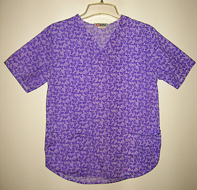 WOMENS LIFE PURPLE BUTTERFLY V-NECK SHORT SLEEVE SCRUB TOP W/ TWO POCKETS SIZE S Butterfly Two Pocket Scrub