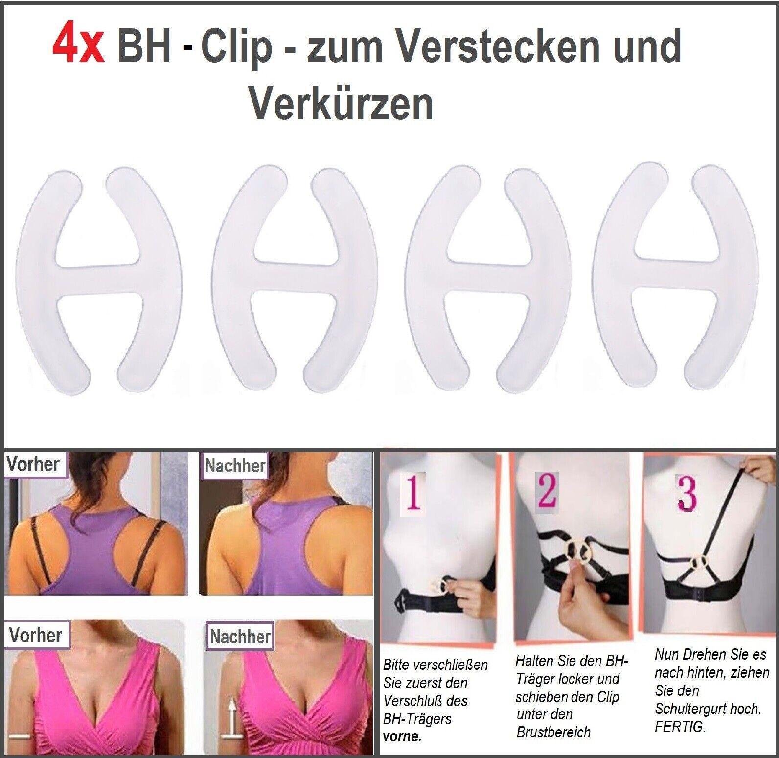 4 Stück BH Clips für BH Träger BH Klammer Anti-Rutsch BH-Träger Clip Push Up NEU