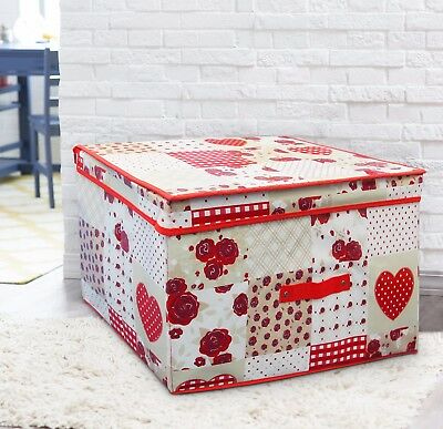 - Multi Use Large Red Hearts Patchwork Cream Storage Box Kids Toy Chest Room Tidy