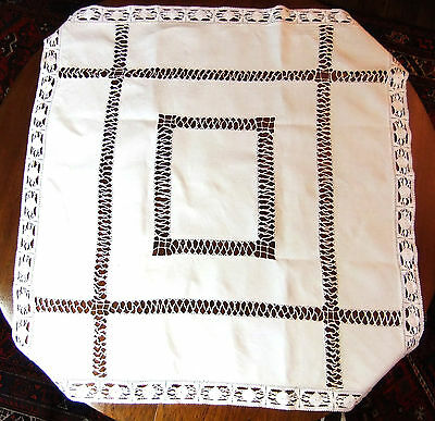 Small Tablecloth linen 91 X 93 cm - Jours and lace bobbin