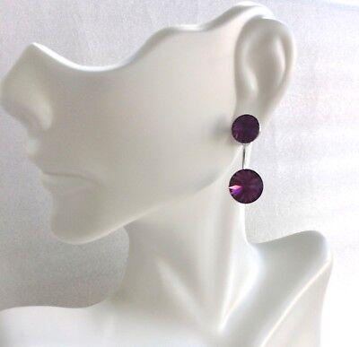Dazzling NEW 925 Sterling Silver Authentic Purple Swarovski Crystal Earrings