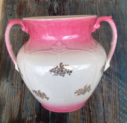 WHEELING POTTERY LABELLE19th C LARGE CHINA JARDINIERE PLANTER PINK & GOLD GILT