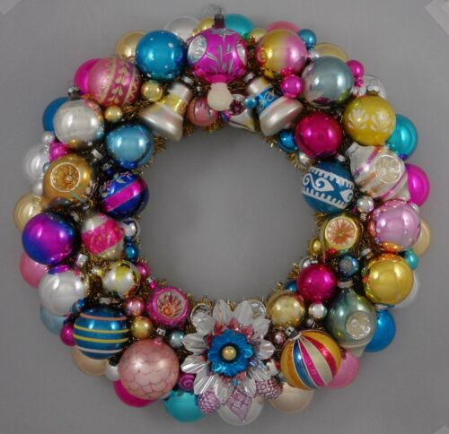 "Vintage Glass Christmas Ornament Wreath Hand Made 19"" Blue Pink Gold (134)"
