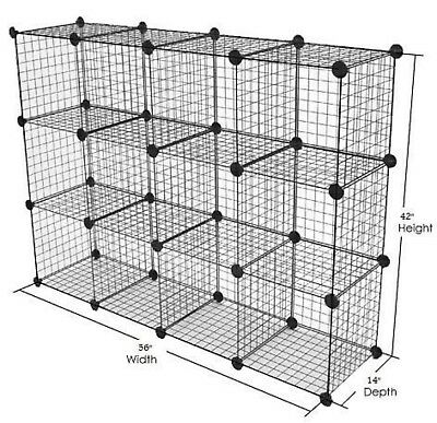 Only Hangers Metal Wire Storage Cubes 3 Ft X 4 Ft - Black