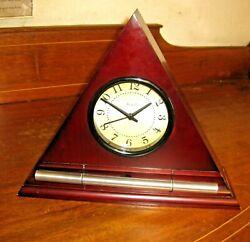 Now and Zen Triangle Alarm Clock Red Wood Progressive Awakening Exc. Condition