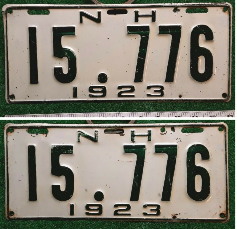 NEW HAMPSHIRE - 1923 sweet original matched pair of passenger license plates.
