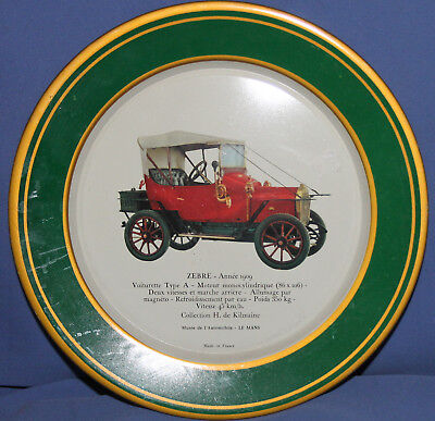 VINTAGE FRENCH SHELL RETRO CAR LITHO TIN TOLE PLATE