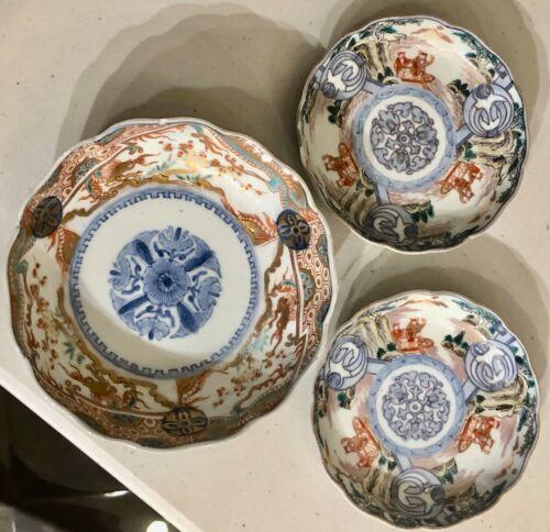 antique Japanese Imari 3 Bowls Houston estate