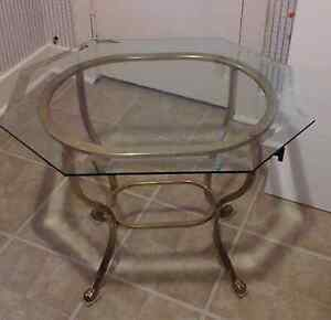 Beautiful Glass Table with Brass Legs