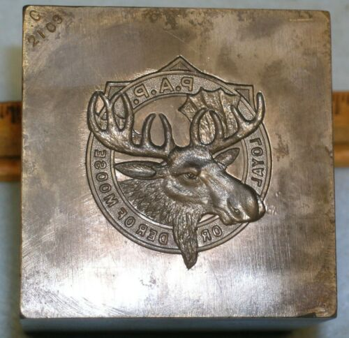 Antique 1911 LOYAL ORDER OF MOOSE 7+ Lbs * Stamping Die * MC Lilley