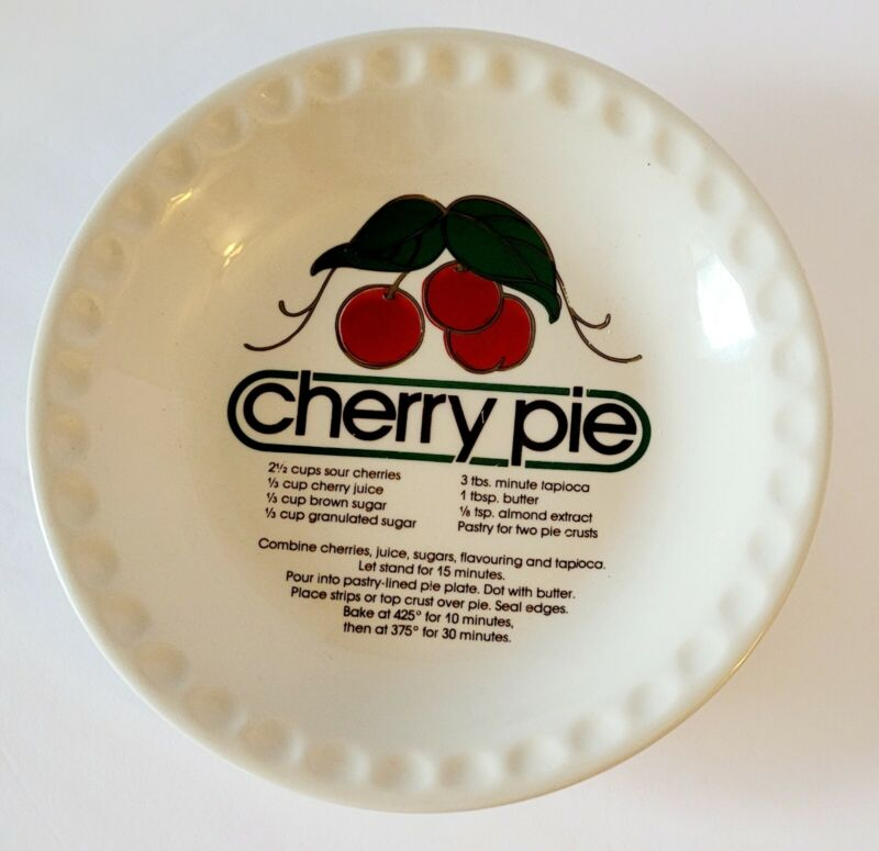 Vintage Cherry Pie Recipe Plate Ceramic Dish