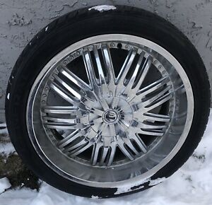 Set of 4 Dub Elevate S199 24 inch Wheels and Tires GM/Caddy