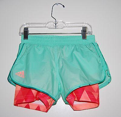 NWT Adidas Big Girls Mint Green Layered Club Shorts w/ Built-In Orange Tights