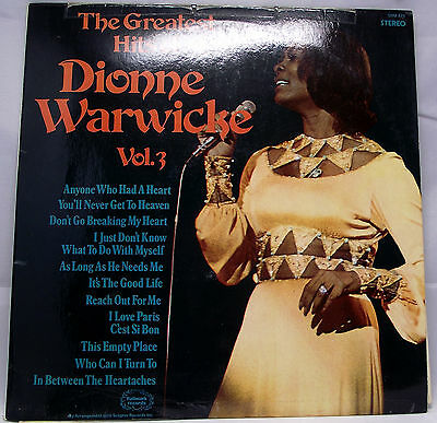 "DIONNE WARWICKE - THE GREATEST HITS OF Vinyl LP 12"" Album 33rpm VG"