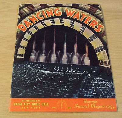 "1954 SOUVENIR Pictorial Magazine/Postcards~""DANCING WATERS""~Radio City Music NYC"