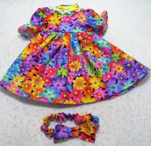 """BRIGHTLY COLORED FLOWERS DRESS, & HEADBAND-- MADE TO FIT 18"""" DOLLS"""