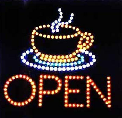 Ultra Bright LED Neon Animated Motion Java Cafe Coffee Tea Cup Open Sign (Coffee Cup Led Sign)