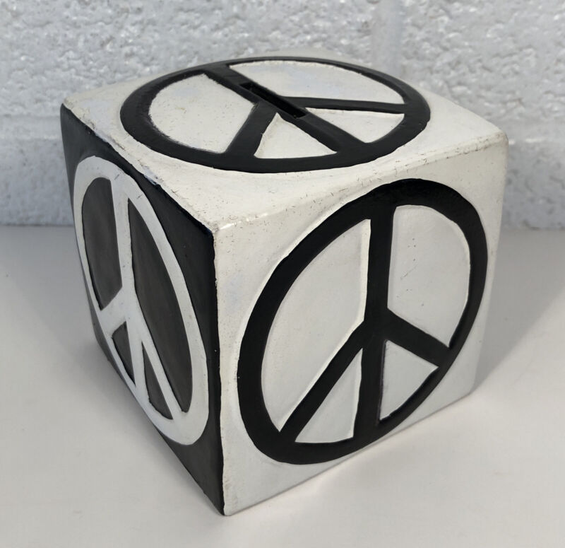 Vintage Pride Creations Ceramic Peace Sign Black & White Block Bank 1970's Hippy